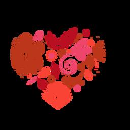 Etiqueta engomada del corazón hecha de flores