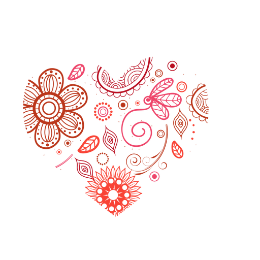Heart made of flowers sticker Transparent PNG