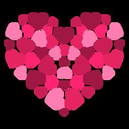 Pegatina corazón hecho de corazones