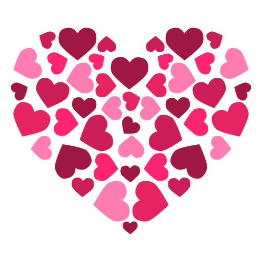 Heart made of hearts sticker Transparent PNG