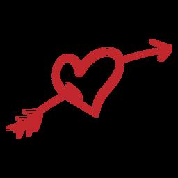 Coração perfurado com etiqueta de flecha