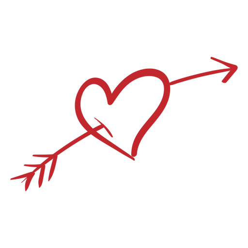 Heart pierced with arrow sticker Transparent PNG