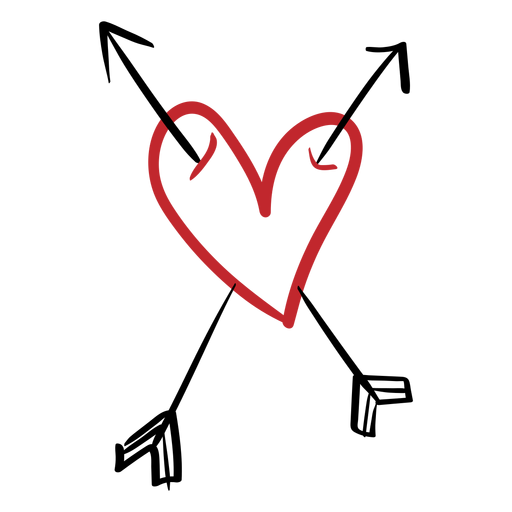 Coração perfurado com duas setas Transparent PNG