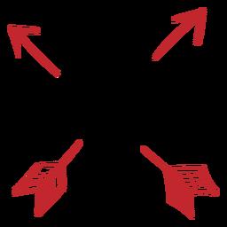 Coração com etiqueta de flechas cruzadas