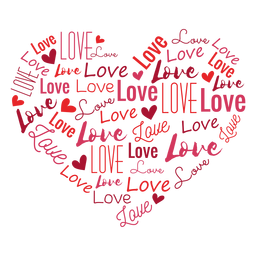 Amor inscrito corazón pegatina