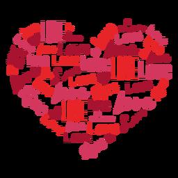 Pegatina de corazón con inscripciones de amor