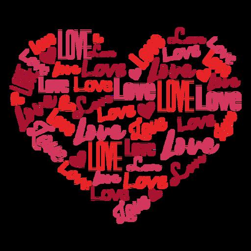 Love inscribed heart sticker Transparent PNG