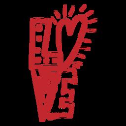 Autocolante de amor com letras