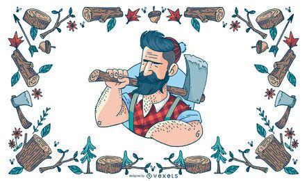 Ilustração de lenhador hipster