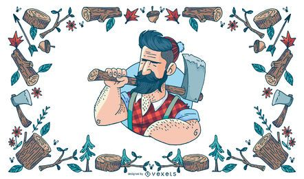 Ilustración de leñador Hipster