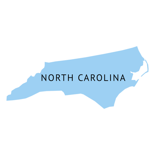 Mapa llano del estado de carolina del norte Transparent PNG