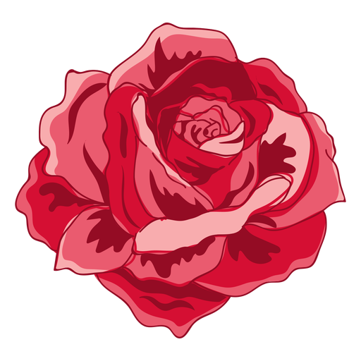 Rotes blühendes Rosensymbol