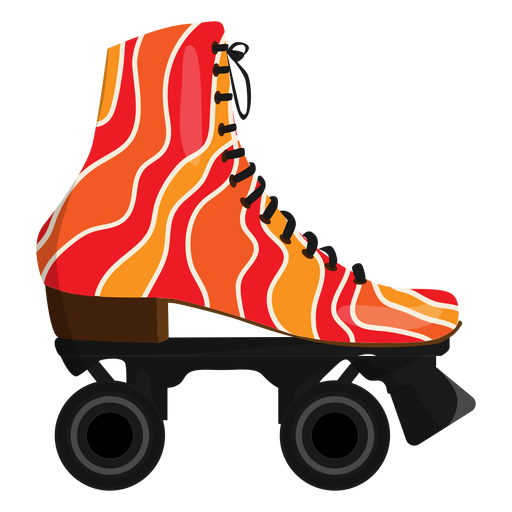 Red wavy roller skate shoe Transparent PNG