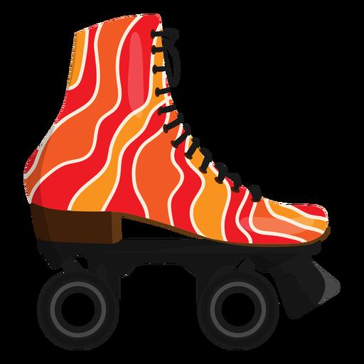 Red wavy roller skate shoe