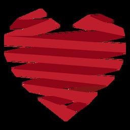 Etiqueta engomada del corazón envuelta cinta