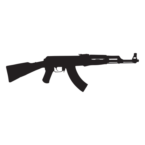 Ak47 assault rifle grey silhouette Transparent PNG