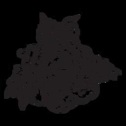 Flor de icono de boceto de cabeza de rosa floreciente