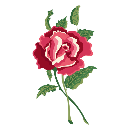 Blooming rose water paint icon flower