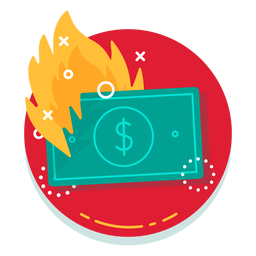 Dollar bill burn rate icon