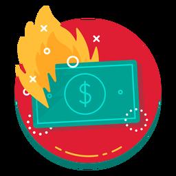 Icono de tasa de quemado de billete de un dólar