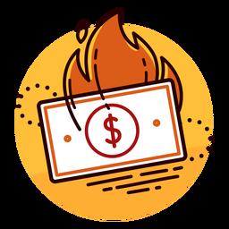 Ícone de queima de conta de dólar