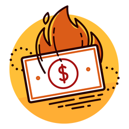 Icono de quema de billete de dólar