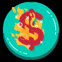 Icono de tasa de quema de dólares