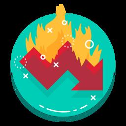 Logotipo de tasa de quemado de gráfico descendente