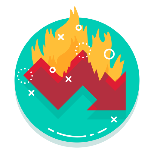 Down graph burn rate logo Transparent PNG