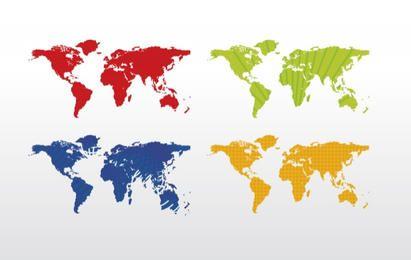 Weltkarte (4 Farben)
