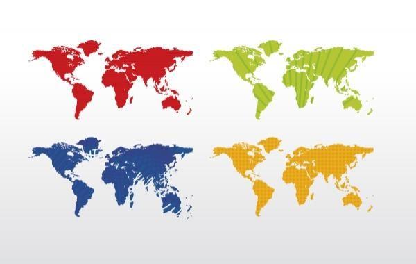 Mapa del mundo (4 colores)