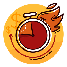Icono de reloj de tasa de quema de dinero
