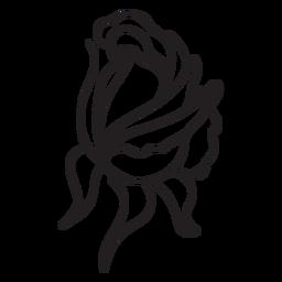 Icono de trazo de capullo de rosa