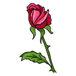 Rose bud water paint icon