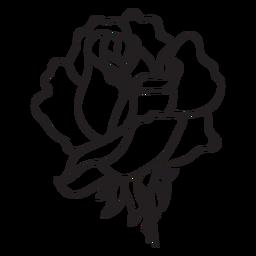 Icono de trazo de cabeza de flor rosa