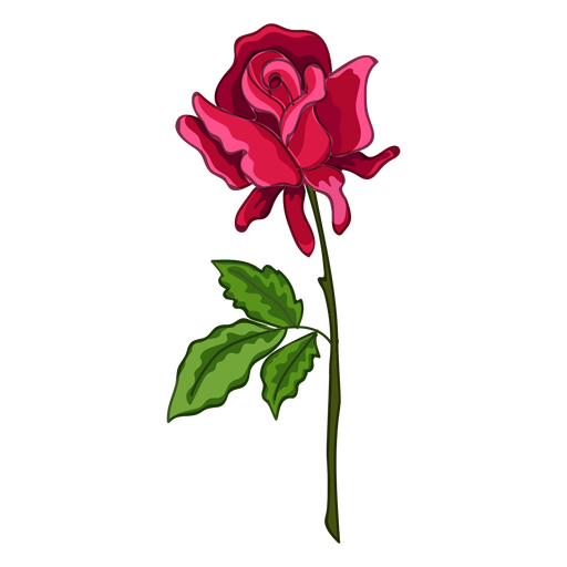 Rose stem water paint icon Transparent PNG