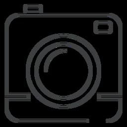 Icono de trazo de cámara cuadrado