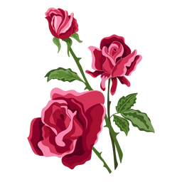 Three roses flowers icon