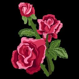 Tres flores rosas icono