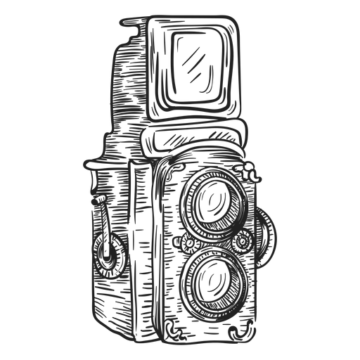 Twin lens camera sketch Transparent PNG