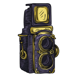 Twin lens camera sketch icon