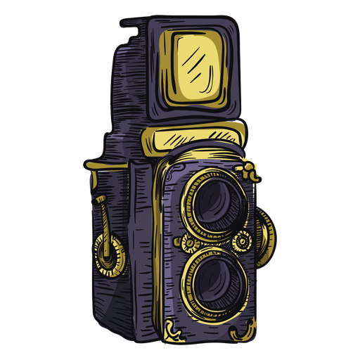 Twin lens camera sketch icon Transparent PNG