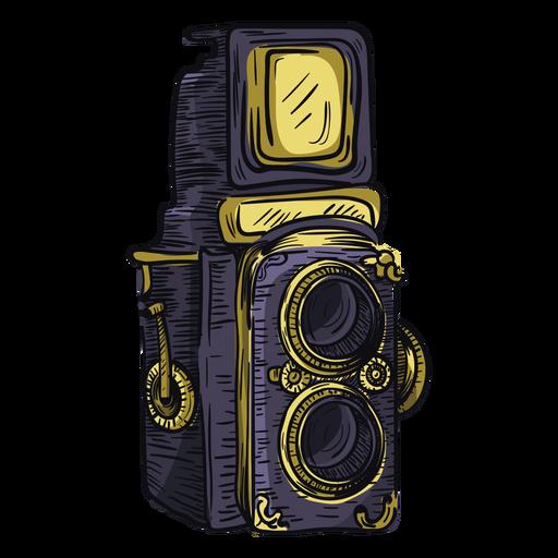 Twin lens camera sketch icon