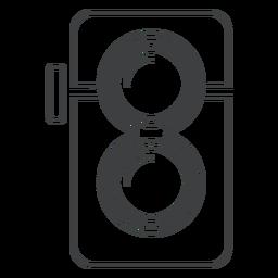 Icono de movimiento de cámara de lente doble