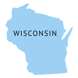 Mapa plano do estado de Wisconsin