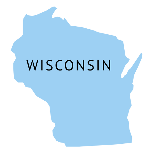 Mapa llano del estado de Wisconsin Transparent PNG