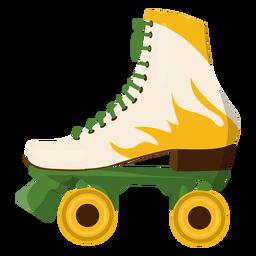Sapato de skate com rolo de fogo amarelo
