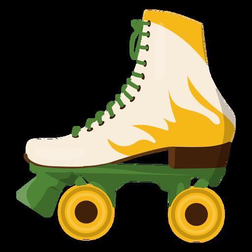 Yellow fire roller skate shoe