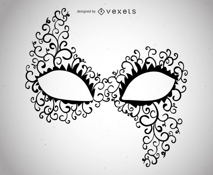 Ilustração de máscara de carnaval assimétrica