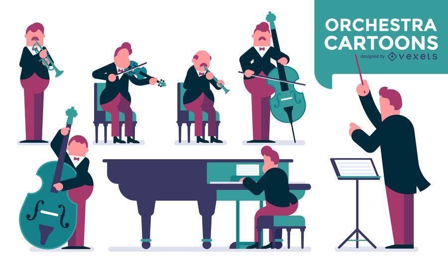 Ilustración de orquesta de música clásica.